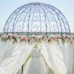 Mini Gazebo linen silk flowers