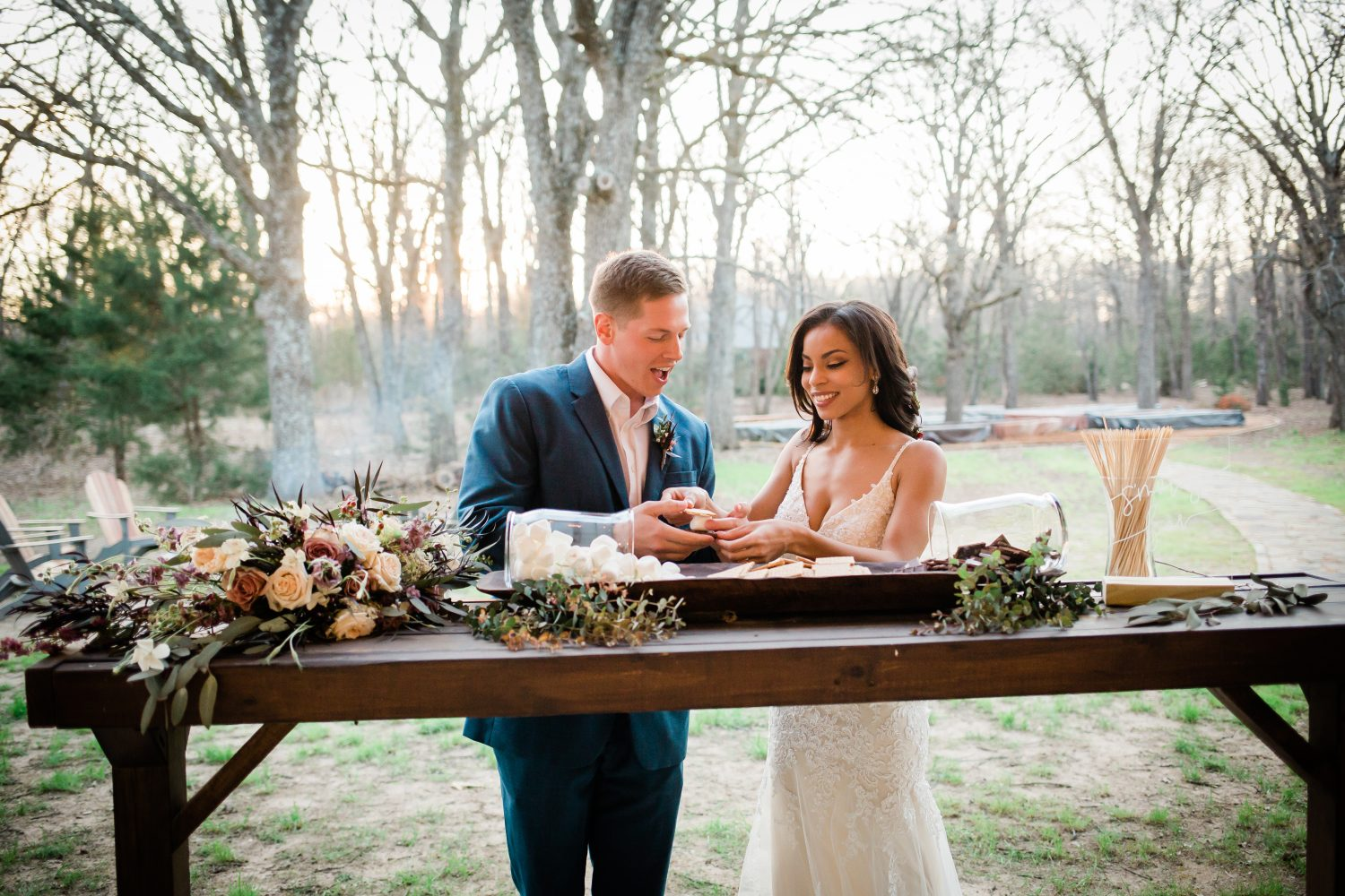 Wild Rose Events Dallas Wedding Florist at Dallas Wedding Venue Under the Wildwood by Drawing with Light Photography, boho wedding smore bar